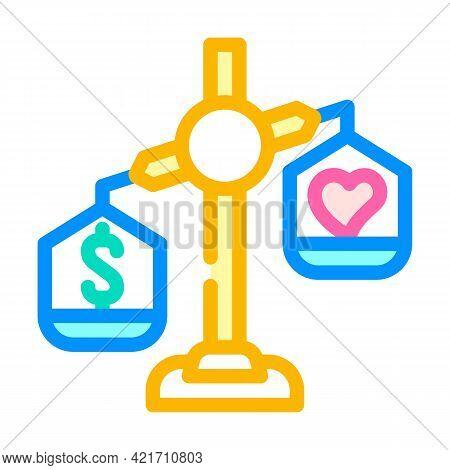Choosing Between Conscience And Money Color Icon Vector. Choosing Between Conscience And Money Sign.