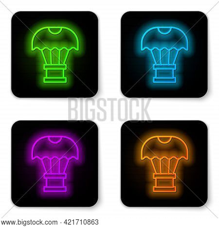 Glowing Neon Line Box Flying On Parachute Icon Isolated On White Background. Parcel With Parachute F