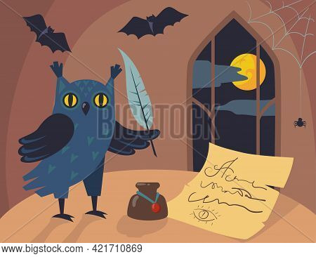 Owl Character Writing Letter With Quill Cartoon Illustration. Wise Bird With Feather And Inkpot, Old