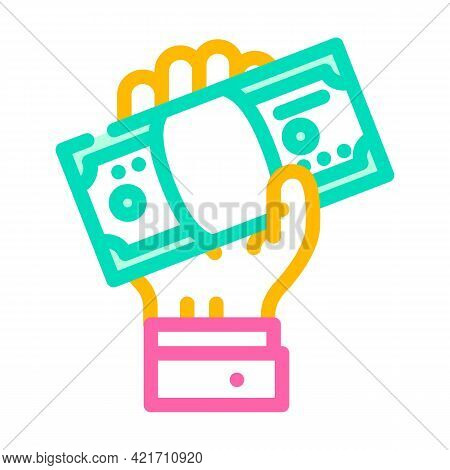 Giving Bribe Color Icon Vector. Giving Bribe Sign. Isolated Symbol Illustration