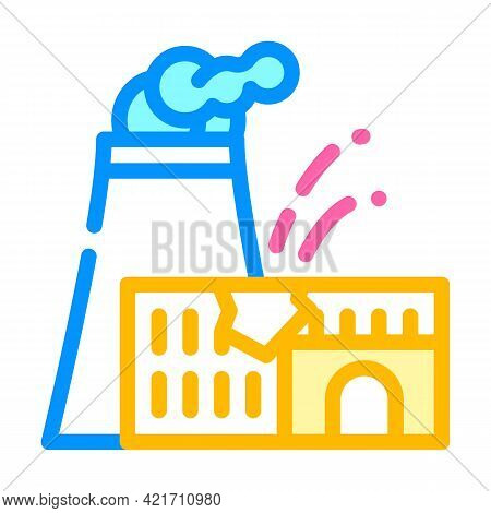 Explosion At Nuclear Power Plant Disaster Color Icon Vector. Explosion At Nuclear Power Plant Disast