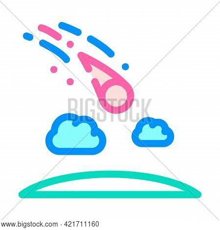 Meteor Falling Disaster Color Icon Vector. Meteor Falling Disaster Sign. Isolated Symbol Illustratio