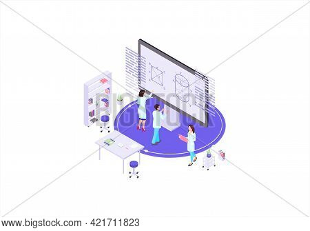Scientists, Mathematicians, Academics Isometric Color Vector Illustration. Calculations On Whiteboar