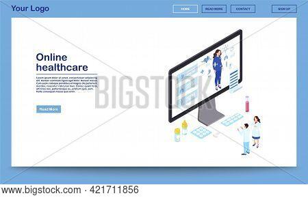 Online Healthcare Isometric Website Template. Remote Doctors Analysing Woman Health, Prescribing Med