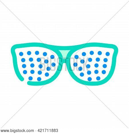 Perforated Glasses Color Icon Vector. Perforated Glasses Sign. Isolated Symbol Illustration