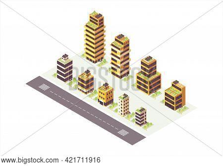 Eco City Isometric Color Vector Illustration. Smart Town Infographic. Renewable Energy Production 3d