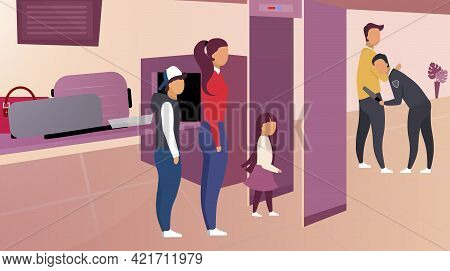 Security Control In Airport Vector Illustration. Passengers In Queue Pass Metal Detector Frame. Guar