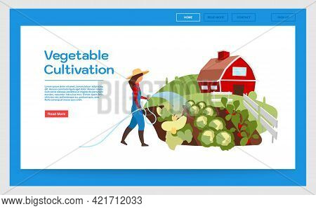 Vegetable Cultivation Landing Page Vector Template. Website Interface With Flat Illustrations. Veget