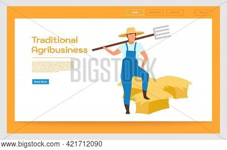Traditional Agribusiness Landing Page Vector Template. Hay Harvesting Website Interface Idea With Fl