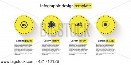 Set Toilet, Plate, Asian Noodles In Bowl And Scrambled Eggs. Business Infographic Template. Vector
