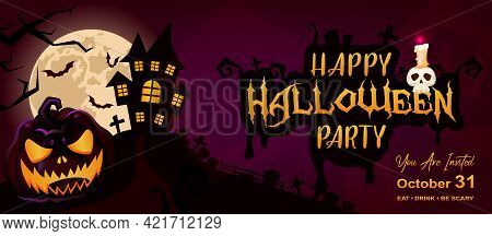Happy Halloween Event Flat Banner Vector Template. Autumn Holiday Night Party Invitation Card Design