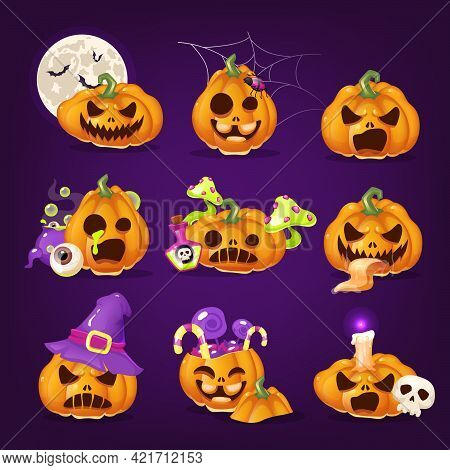 Spooky Halloween Pumpkins Cartoon Vector Illustrations Set. Creepy Carved Squash With Evil Smiles Is