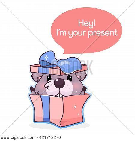 Cute Beaver Cartoon Kawaii Vector Character. Hey I Am Your Present Inside Speech Bubble. Adorable Be