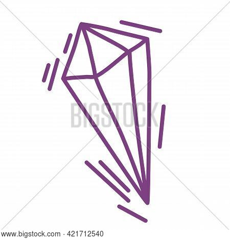 Purple Mystical Crystal. For Print For T-shirts And Bags, Decor Element. A Magical Halloween Symbol.