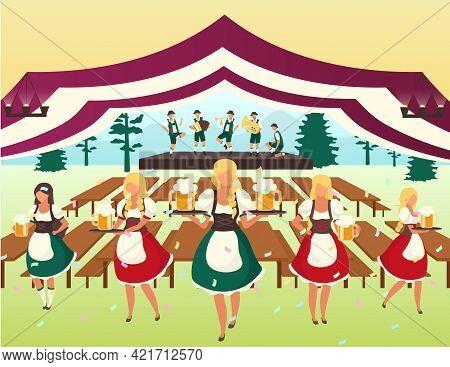 Oktoberfest Flat Vector Illustration. Beer Tent. Folk Musical Performance, October Fest Show. Waiter