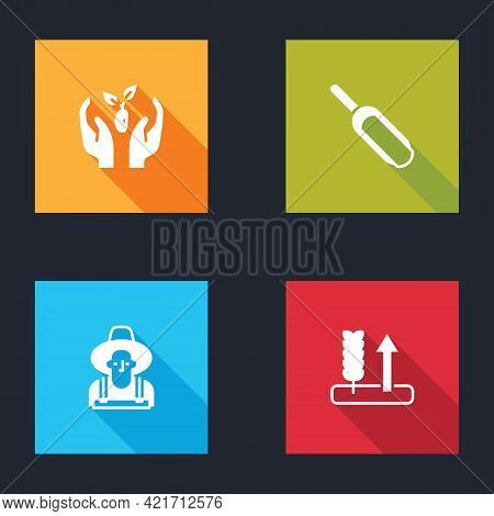 Set Plant In Hand, Scoop Flour, Farmer The Hat And Wheat Icon. Vector