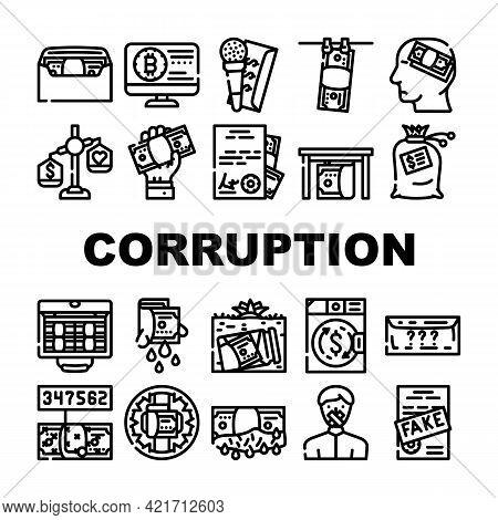 Corruption Problem Collection Icons Set Vector. Money Bag And Envelope, Corruption Scheme For Give M