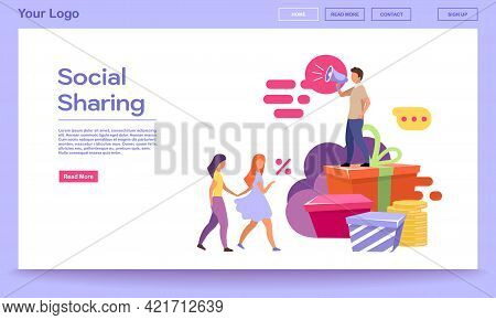 Social Sharing Landing Page Vector Template. Smm, Digital Marketing Services Website Interface With