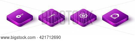 Set Isometric Lute, Arabian Saber, Octagonal Star And Clock Icon. Vector