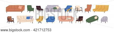 Set Of Trendy Sofas, Chairs, Armchairs, Ottomans, And Couches With Cushions In Retro Mid-century Sty