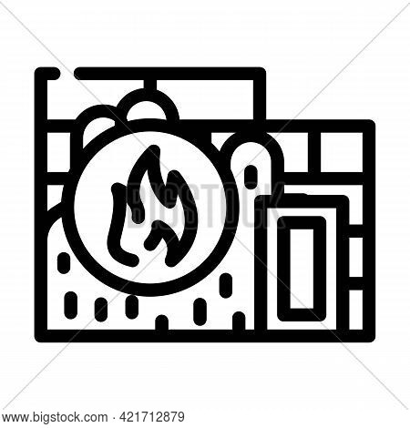 Flame Proof Building Material Line Icon Vector. Flame Proof Building Material Sign. Isolated Contour