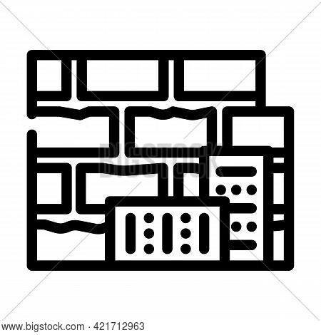 Brick Building Material Line Icon Vector. Brick Building Material Sign. Isolated Contour Symbol Blac