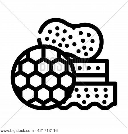 Different Sponges For Car Polishing Line Icon Vector. Different Sponges For Car Polishing Sign. Isol