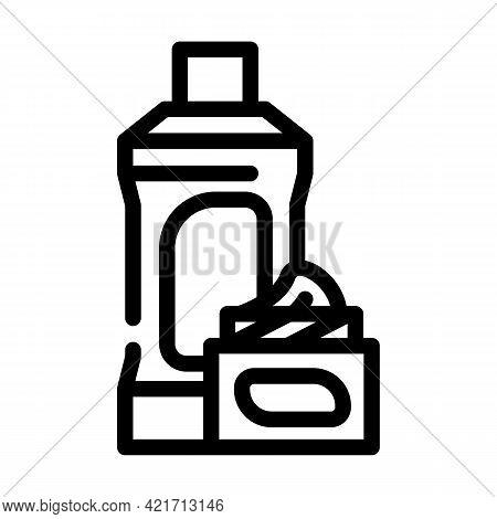 Chemical Liquid For Car Polishing Line Icon Vector. Chemical Liquid For Car Polishing Sign. Isolated