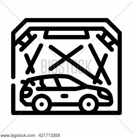 Garage Box For Car Polishing Line Icon Vector. Garage Box For Car Polishing Sign. Isolated Contour S