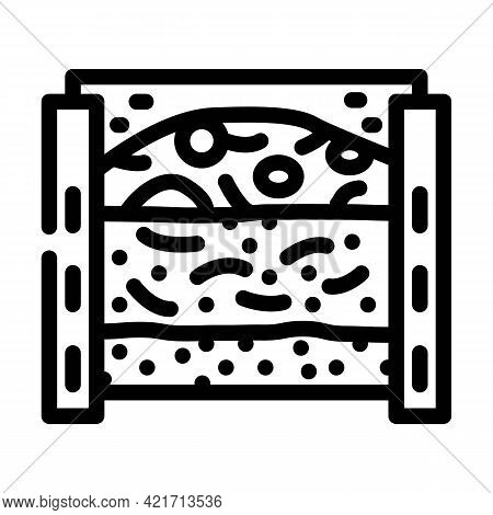 Layers Of Material In Composter Line Icon Vector. Layers Of Material In Composter Sign. Isolated Con