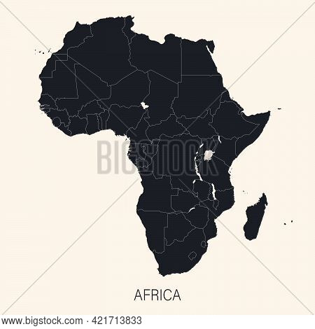 The Political Detailed Map Of The Continent Of Africa With Borders Of Countries