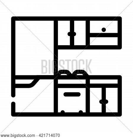 Kitchen Furniture Line Icon Vector. Kitchen Furniture Sign. Isolated Contour Symbol Black Illustrati