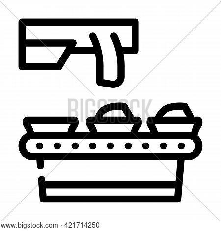 Food Conveyor Line Icon Vector. Food Conveyor Sign. Isolated Contour Symbol Black Illustration