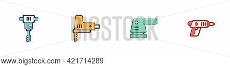 Set Electrical Hand Concrete Mixer, Jigsaw, Sander And Cordless Screwdriver Icon. Vector