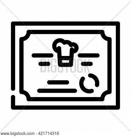Diploma Cooking Courses Line Icon Vector. Diploma Cooking Courses Sign. Isolated Contour Symbol Blac