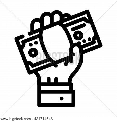 Giving Bribe Line Icon Vector. Giving Bribe Sign. Isolated Contour Symbol Black Illustration