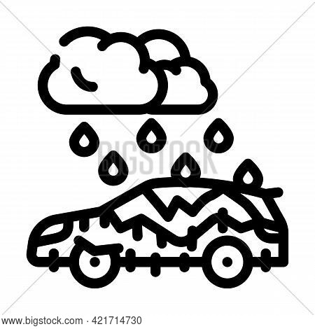 Freezing Rain Disaster Line Icon Vector. Freezing Rain Disaster Sign. Isolated Contour Symbol Black