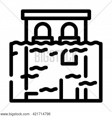 Flood Disaster Line Icon Vector. Flood Disaster Sign. Isolated Contour Symbol Black Illustration