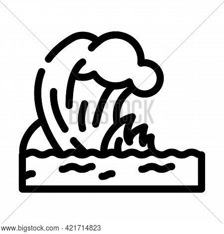 Tsunami Disaster Line Icon Vector. Tsunami Disaster Sign. Isolated Contour Symbol Black Illustration