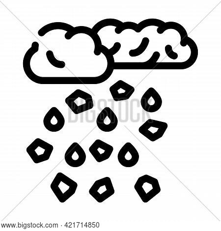 Hail Disaster Line Icon Vector. Hail Disaster Sign. Isolated Contour Symbol Black Illustration