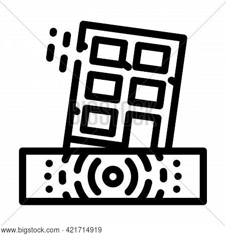Earthquake Disaster Line Icon Vector. Earthquake Disaster Sign. Isolated Contour Symbol Black Illust