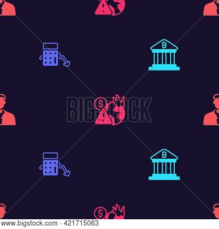 Set Bank Building, Calculation Of Expenses, Global Economic Crisis And Worker On Seamless Pattern. V