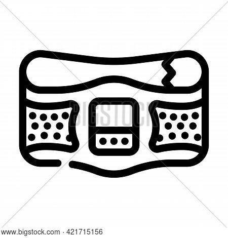 Belt Stimulator Line Icon Vector. Belt Stimulator Sign. Isolated Contour Symbol Black Illustration