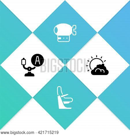 Set Aircraft Steering Helm, Airplane Seat, Airship And Sun And Cloud Weather Icon. Vector