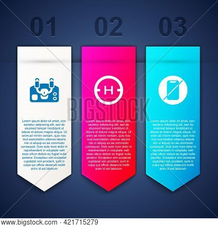 Set Aircraft Steering Helm, Helicopter Landing Pad And No Cell Phone. Business Infographic Template.