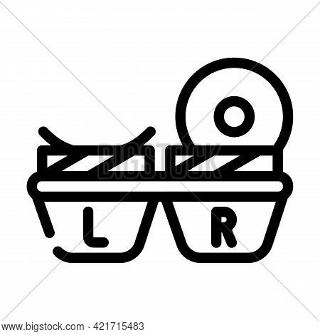Lens Container Line Icon Vector. Lens Container Sign. Isolated Contour Symbol Black Illustration