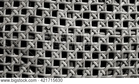 Seamless Pattern Of Bamboo Weave Background Of Table, Basket Or Furniture In Black And White Tone. N