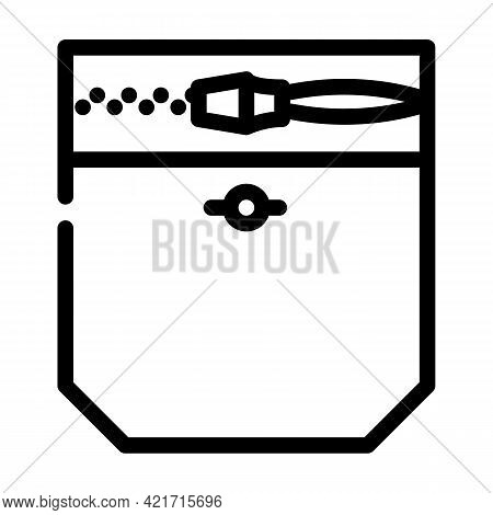 Zipper Lock Pocket Line Icon Vector. Zipper Lock Pocket Sign. Isolated Contour Symbol Black Illustra