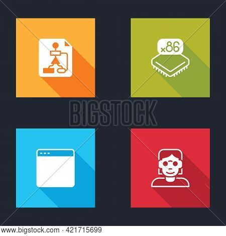 Set Flowchart, Processor With Microcircuits Cpu, Browser Window And Hacker Coder Icon. Vector