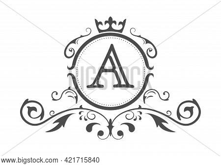 Stylized Letter A Of The Latin Alphabet. Monogram Template With Ornament And Crown For Design Of Ial